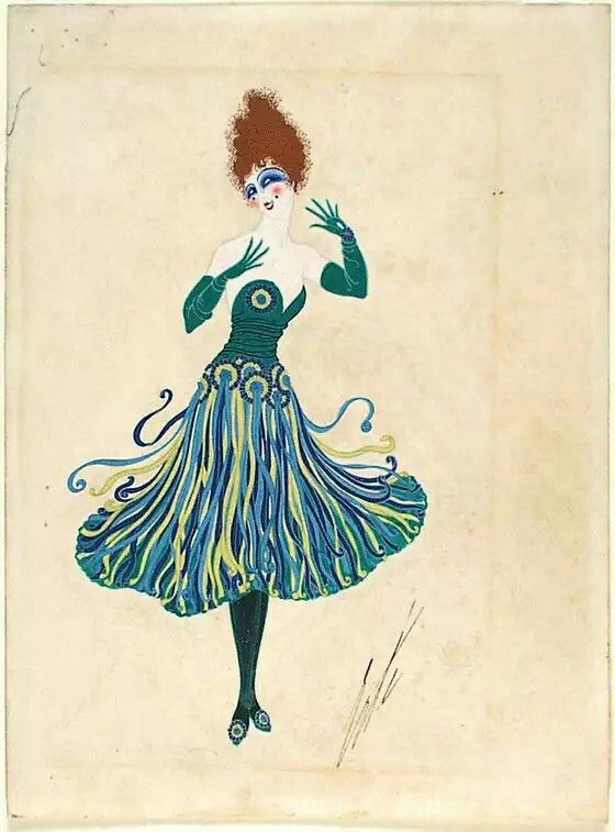 Erte fashion sketches of dresses
