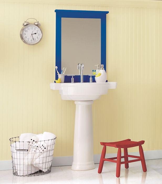 Pretty yellow for a bathroom! (found on Clark+Kensington's website) #HelloBeautiful