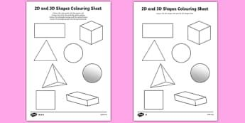 2d And 3d Shapes Colouring Sheets 3d 2d 3d Shapes Shapes Names Colouring Fine Motor Skills Poster Worksheet Vi 2d And 3d Shapes Shape Names 3d Shapes
