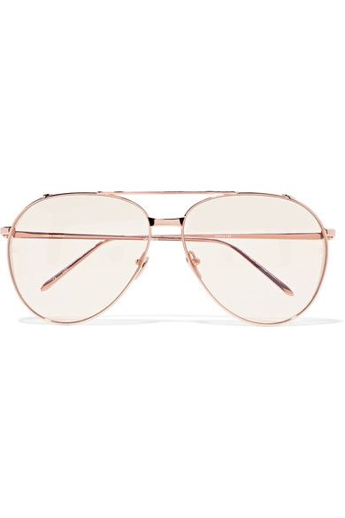 738967c3c3f Linda Farrow - Aviator-style Rose Gold-plated Sunglasses - Metallic ...