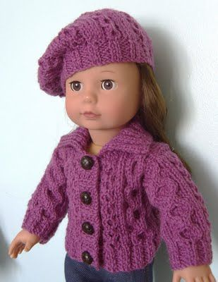 how cute is this crochet hat and sweater for the Ameican doll ...