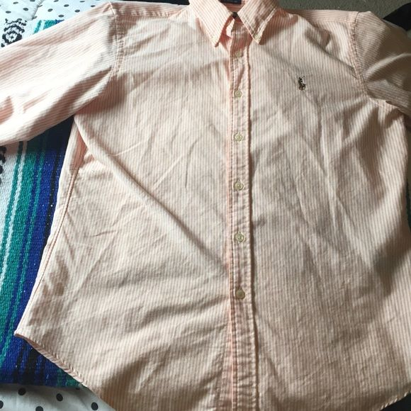 61ee224b Polo Ralph Lauren classic fit in coral and white Women's classic fit Oxford  shirt in coral and white size 14. Worn once Polo by Ralph Lauren Tops Button  ...