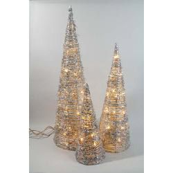 Perfect for Festive and Christmas decorations. Set of 3 Silver rattan cones: 80cm, 60cm and 40cm. #rattan #cones #decorations #decorative #lights #led #tree #decor #christmas #xmas