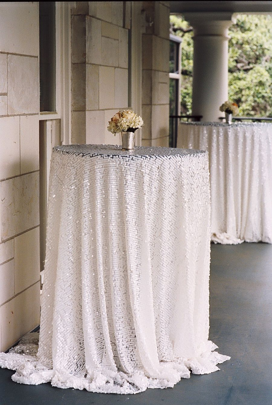 Silver Sequin Tablecloths Gussy Up A Cocktail Hour Photography