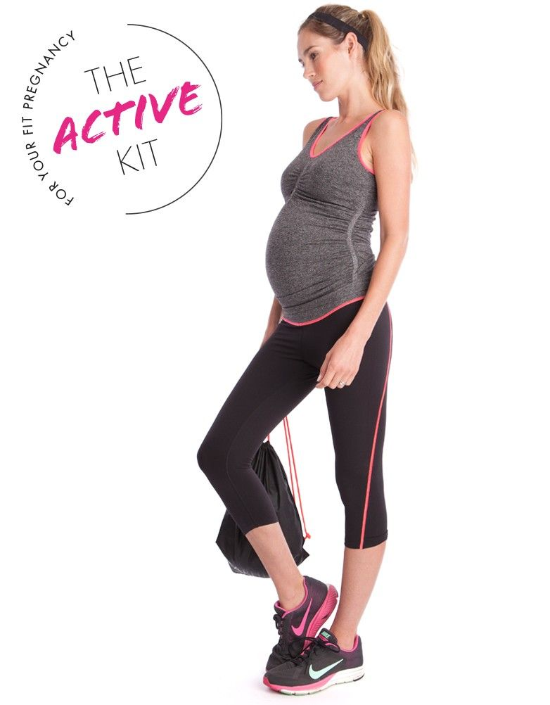 77946f9673cdf Maternity & Nursing sports bra Maternity tank top Maternity workout pants  Matching headband Comes in a drawstring gym bag If you are between sizes,  ...