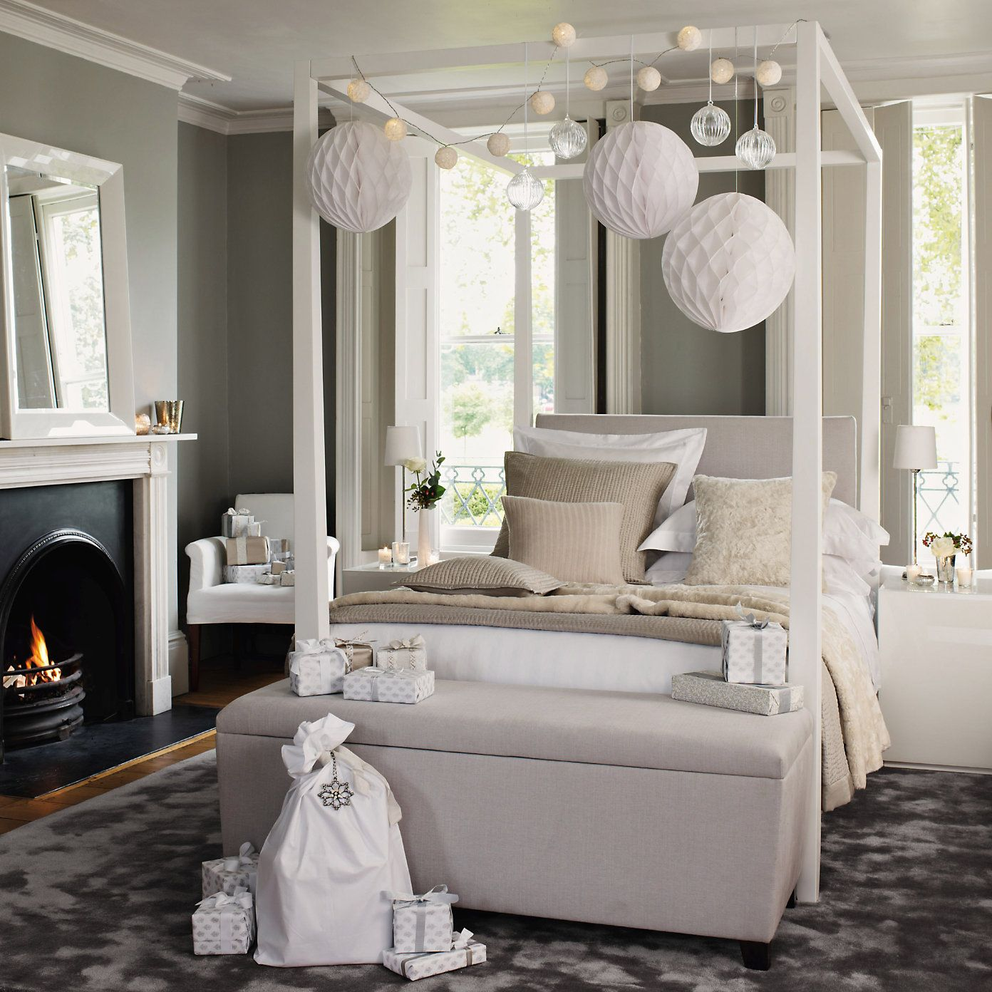 The White Company four poster bed and ender sofa. Love the