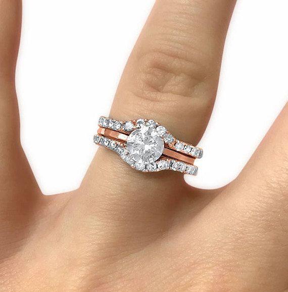 Jewelry & Watches 10k Yellow Gold Ladies Pave Diamond Bridal Wedding Band Ring Duo Set Good Taste