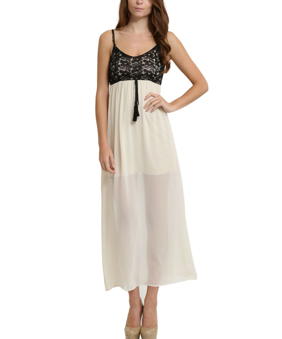 Another great find on zulily beige lace overlay maxi dress by