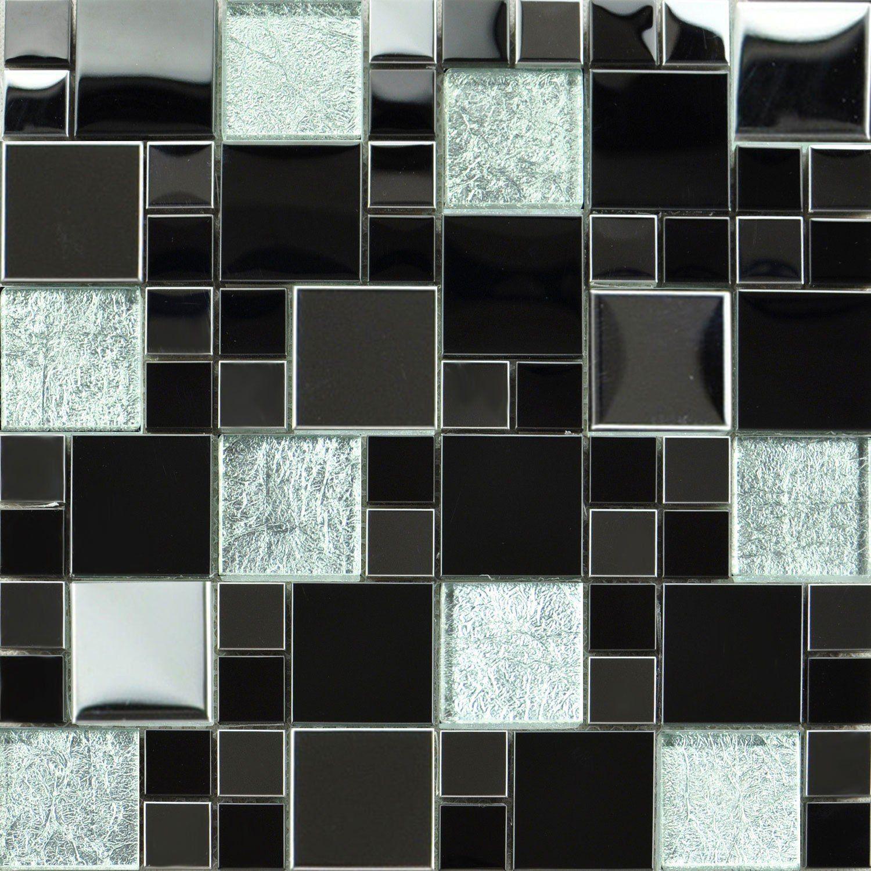 Glass Metallic Modular Mosaic Silver Black