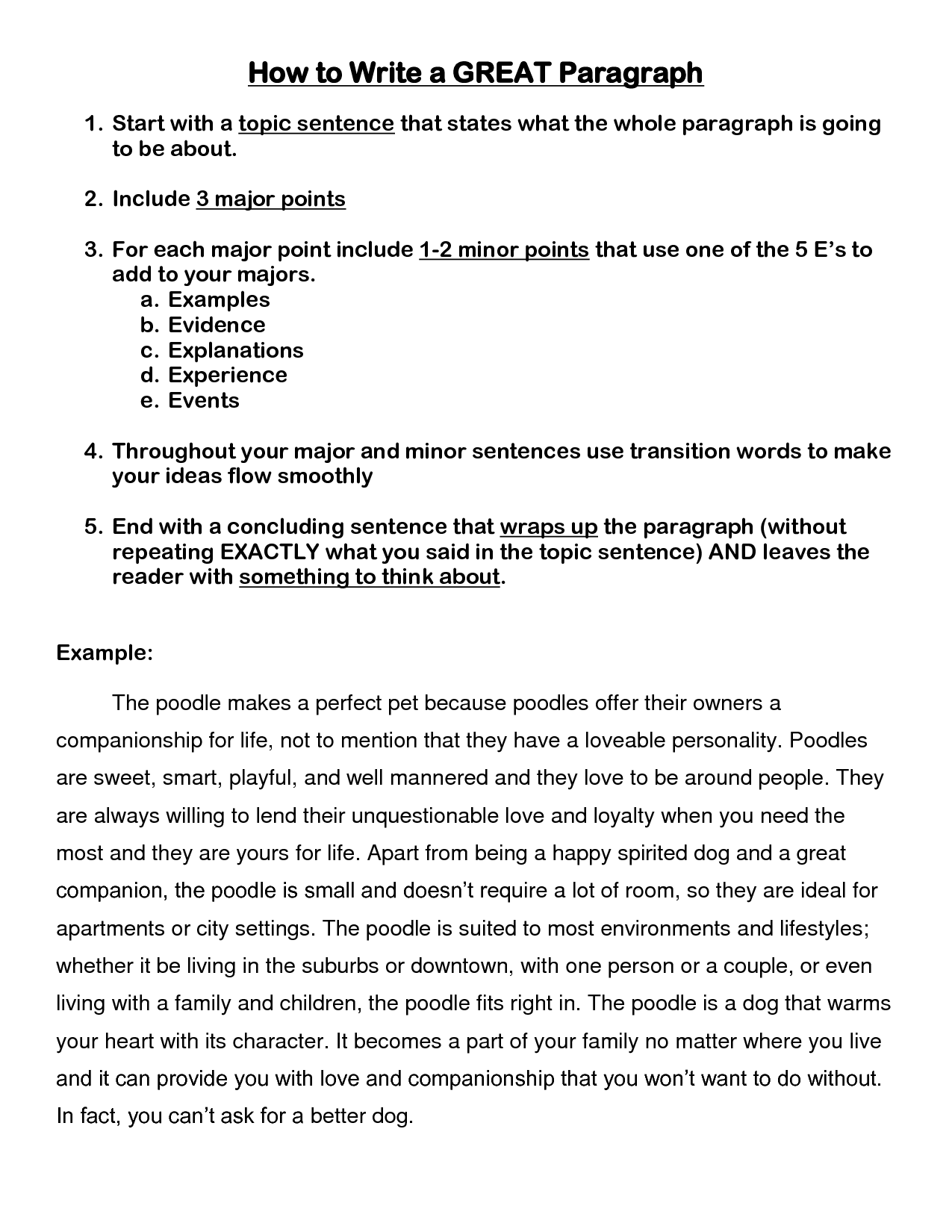 Example Of Paragraph Writing 4th Grade