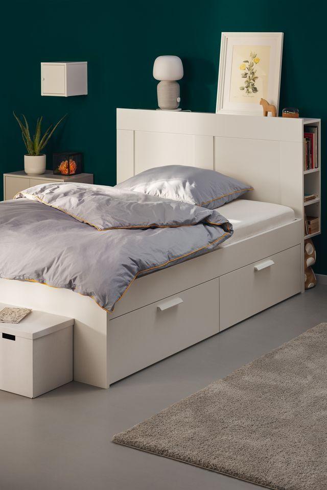 Brimnes Bettgestell Kopfteil Und Schublade Weiss Ikea Deutschland Jugendzimmer Bett Jugendzimmer Schlafzimmer Aufbewahrung