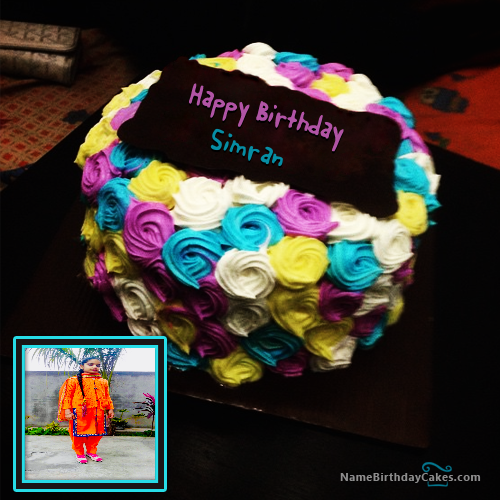 The Name Simran Is Generated On Colorful Birthday Cake For Sister