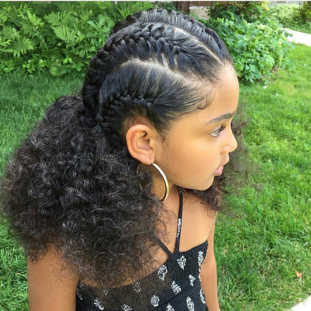 braids cornrows mixed hair little girl | easy hair braids