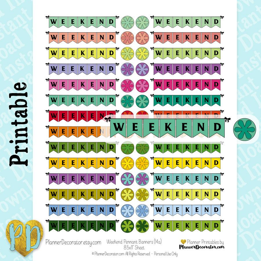 Design banner for etsy - Weekend Pennant Banner Printable Planner Stickers Weekend Banner Stickers Pdf Eclp Mambi