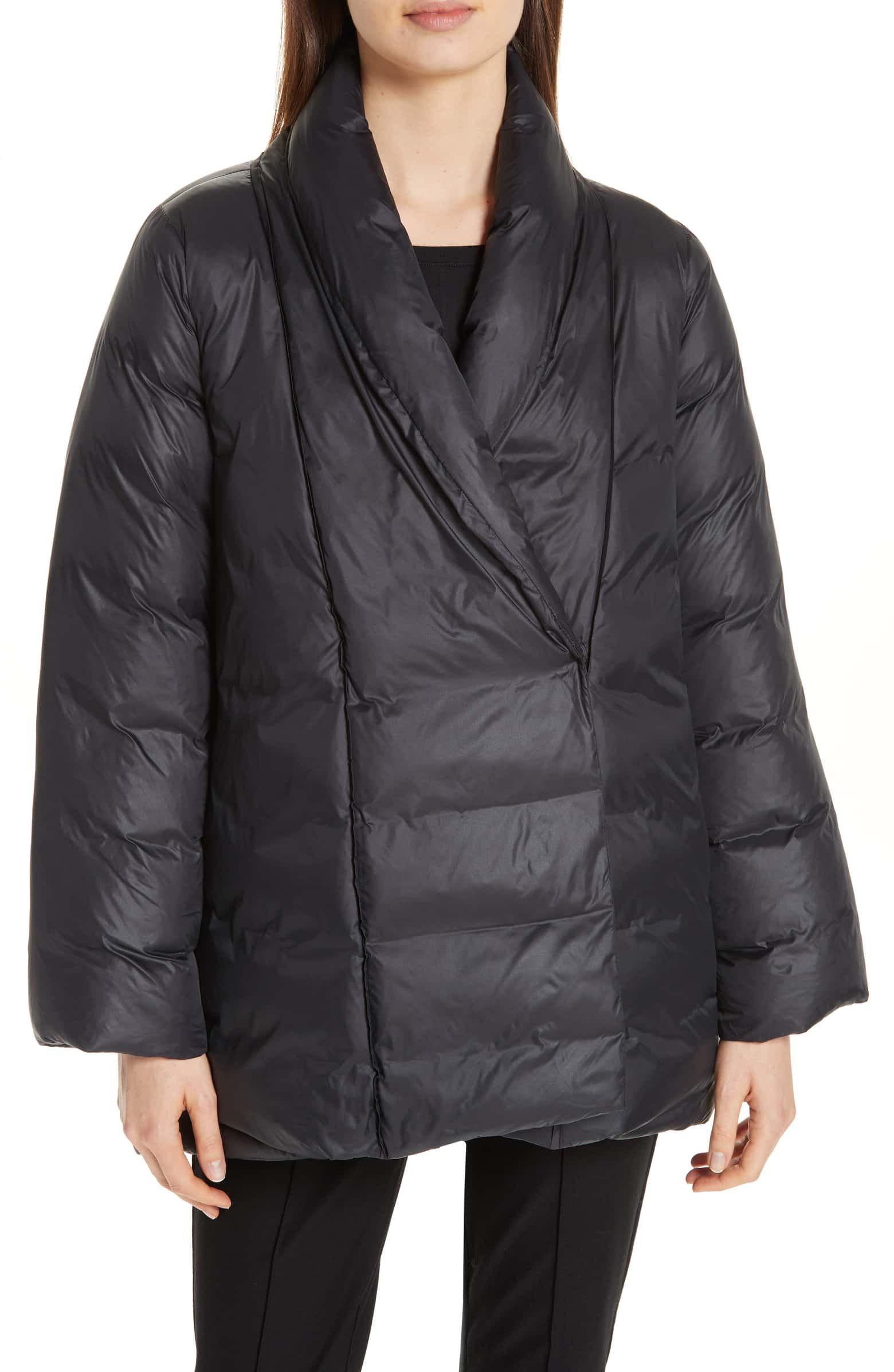 Eileen Fisher High Shawl Collar Down Coat Nordstrom Down Coat Coats Jackets Women Coats For Women [ 2392 x 1560 Pixel ]