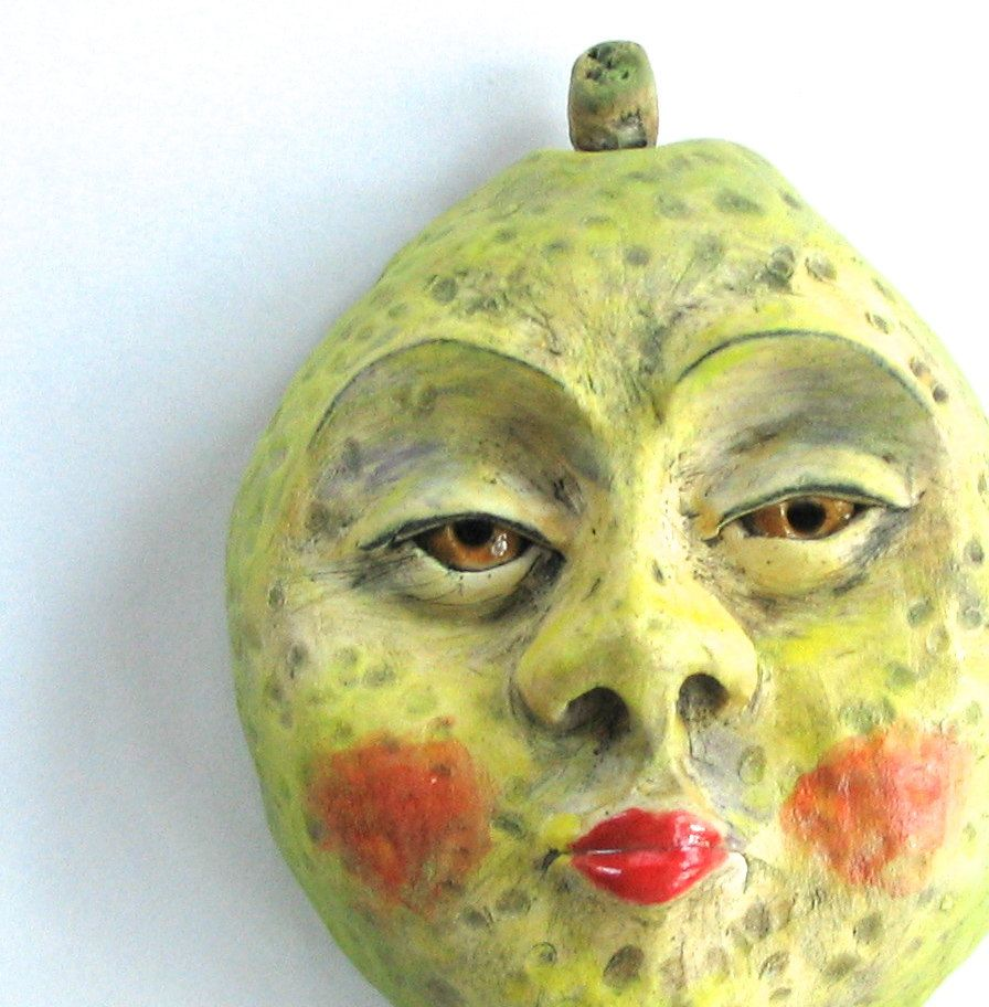 Ceramic lemon face mask clay wall face stoneware sculpture lemon ...