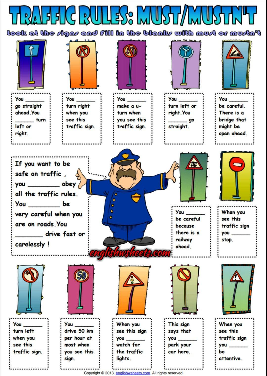 Auxiliary Verbs Must or Mustn\'t ESL Exercise Worksheet | Esl ...