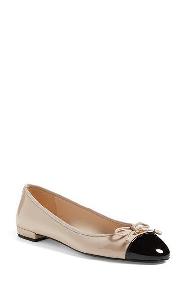 976b5de7b1 Love this by PRADA Powder And Black Patent Leather Cap Toe Bow Detail Flats  - $530