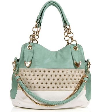 This Minty Spring Rhinestone Handbag Is Structured And Super Sized With Lovely Detail Across Decorative Golden Hardware Side Back Pockets