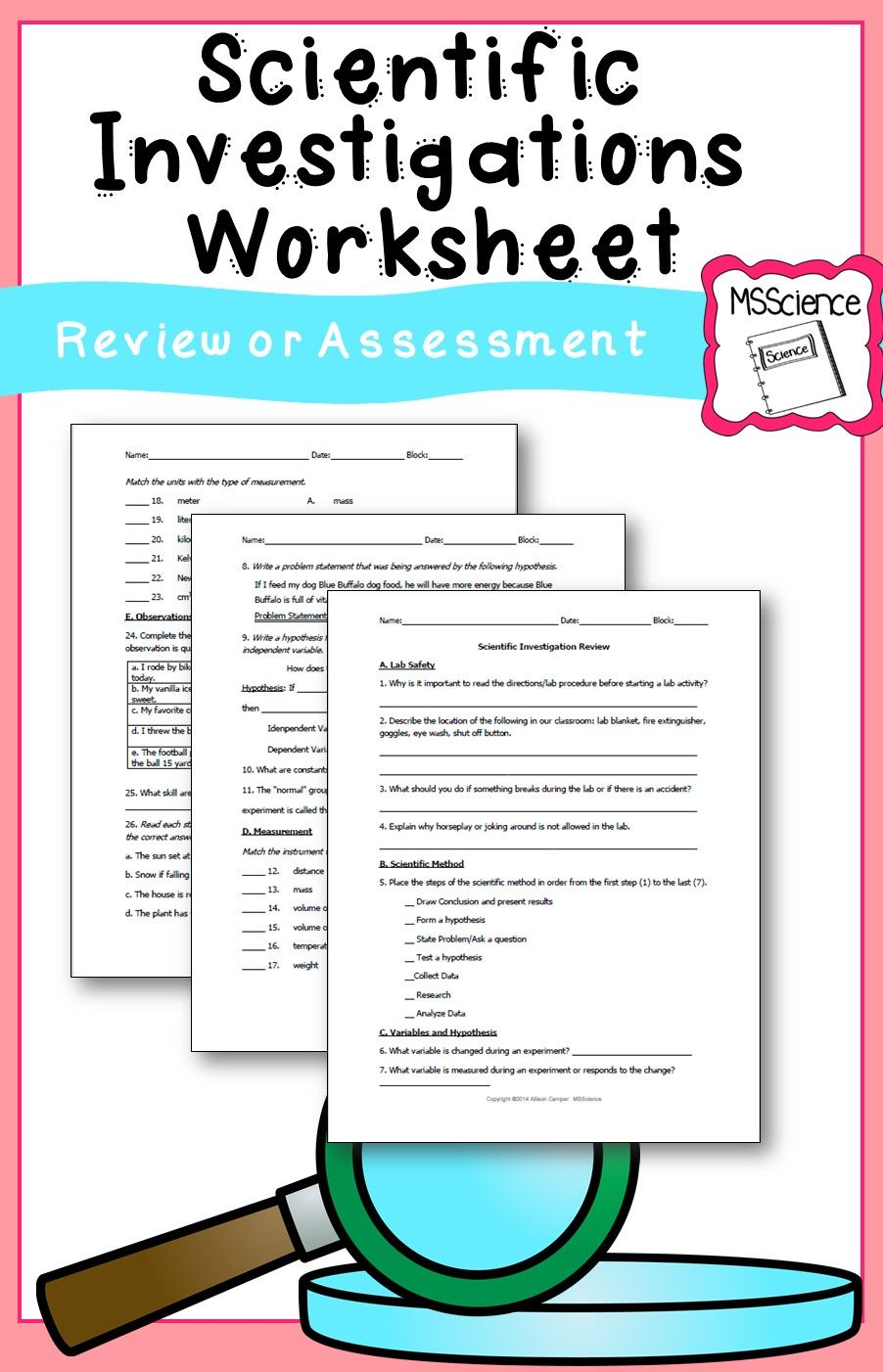 Scientific Investigation Worksheet  Scientific Method Worksheets