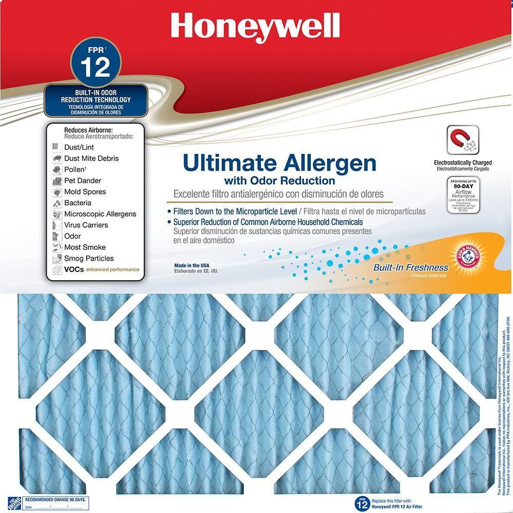 Honeywell 20 In X 20 In X 1 In Fpr 12 Air Filter Furnace Filters Filters Furnace
