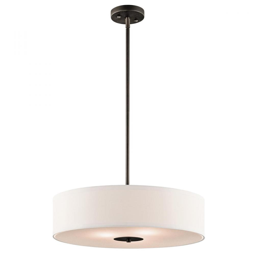 This kichler three light bronze drum shade pendant is a transitional this kichler three light bronze drum shade pendant is a transitional look that goes in any aloadofball Gallery