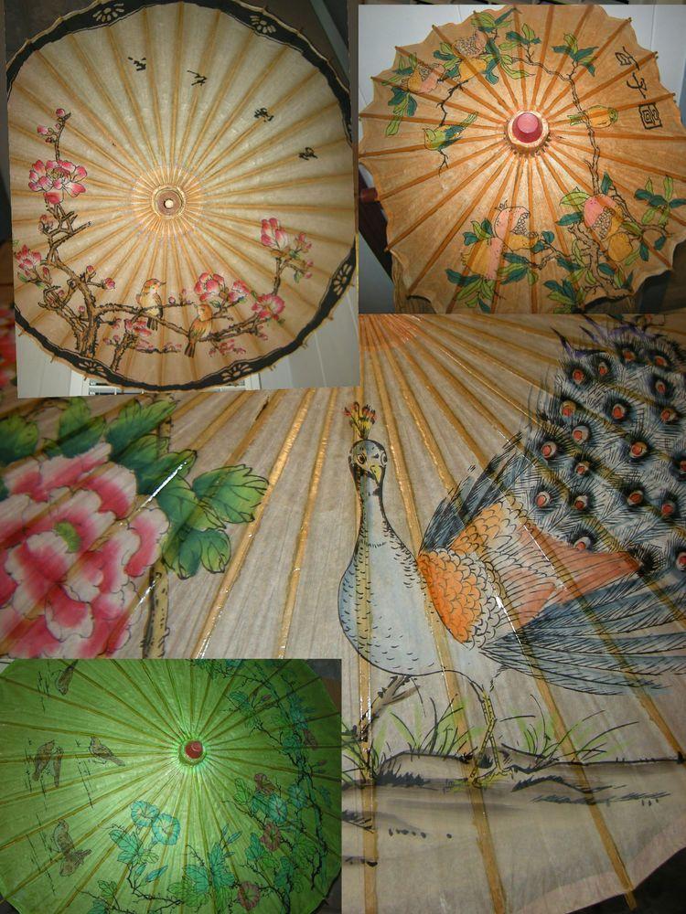 4 Diffe Oriental Paper Bamboo Umbrellas Vintage Parasols Pea Birds