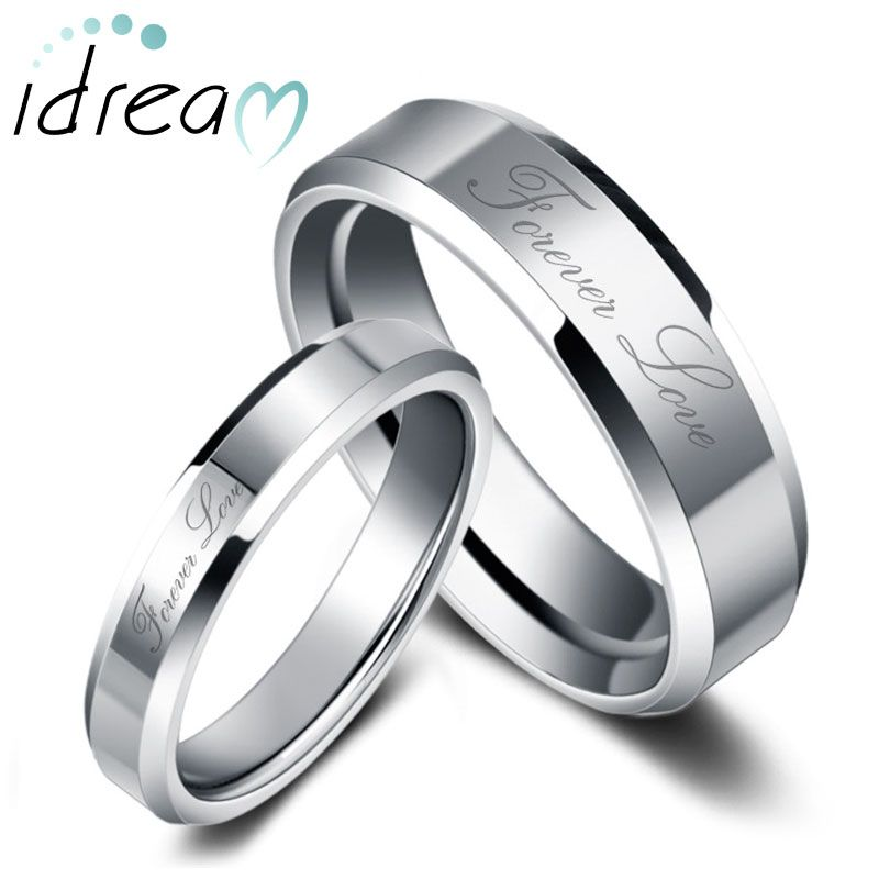 28d9f5bfec6d4 Forever Love Engraved Tungsten Wedding Bands Set for Women and Men, Tungsten  Carbide Wedding Ring Band with Beveled Edges - 4mm - 8mm, Matching His and  Hers ...