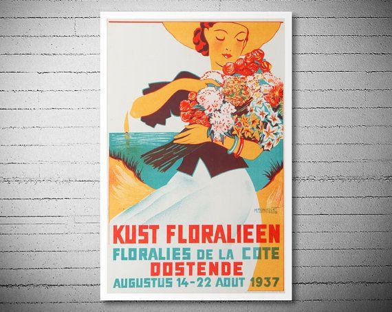 Kust Floralieen Floralies de la Cote Oostende 1937 door WallArty