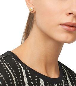 Tory Burch Pearly Logo Stud Earrings GGhBim