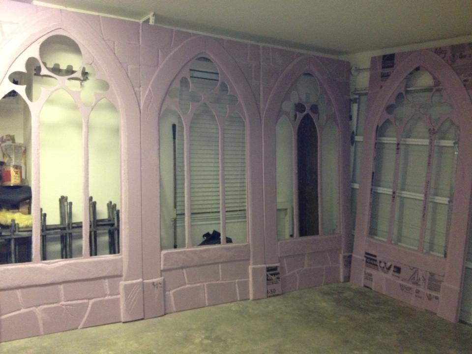 carved foam church windows from Halloween forum member.
