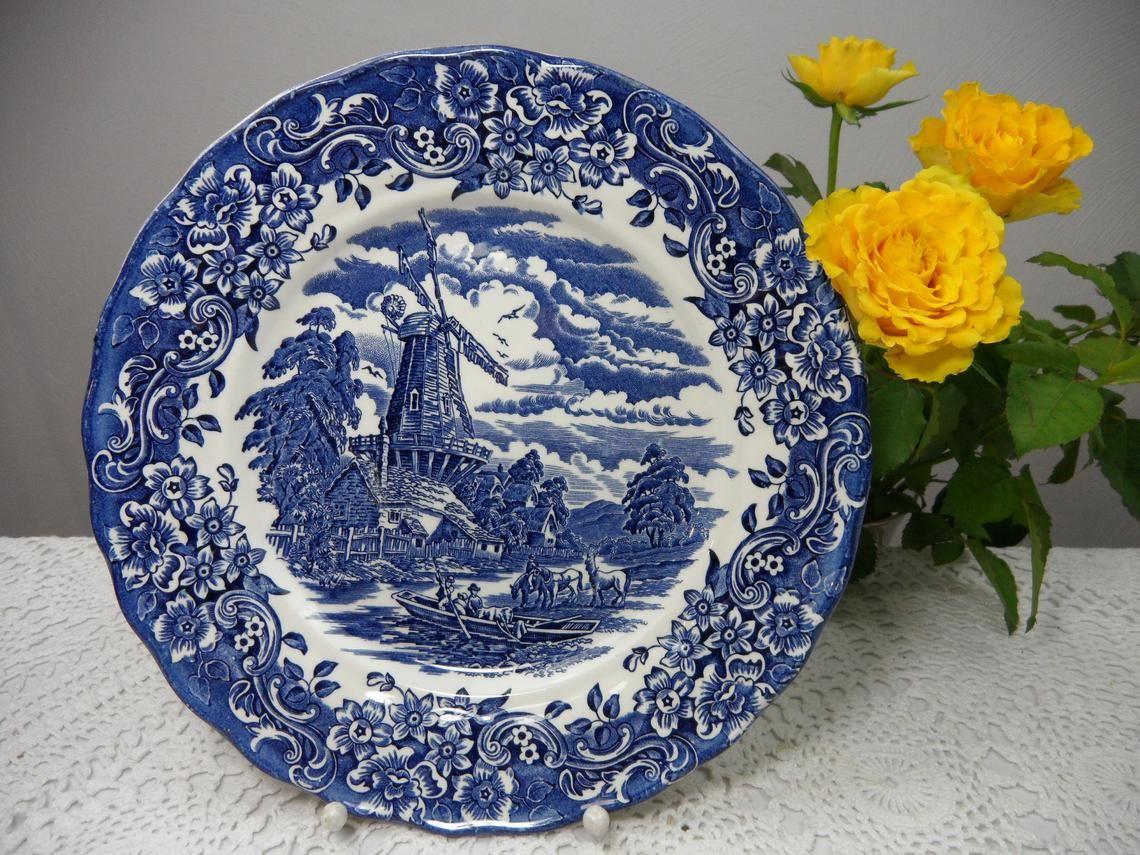 Großer Teller Speiseteller Blau England Windmühle Etsy Speiseteller Teller Platzteller