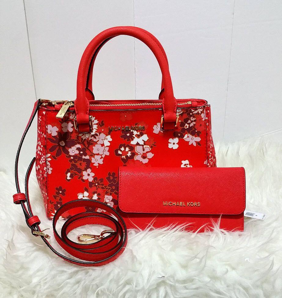 a05d4ba3bc91 MICHAEL KORS Kellen XS Satchel Floral Dark Sangria Crossbody Bag Wallet set  NWT #MichaelKors #Satchel