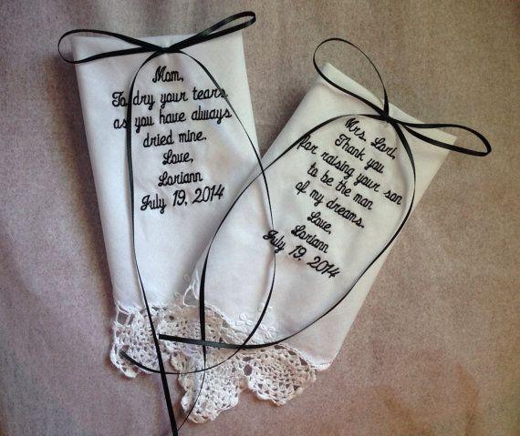 Custom Embroidered Wedding Hankies Handkerchiefs Mother of Groom Mother of Bride Gifts Bride Favor set of 2 Hankerchief on Etsy, $39.99