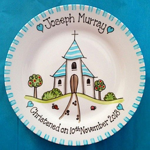 Blue Church Personalised Christening Hand Painted Plate - £32.95 ...