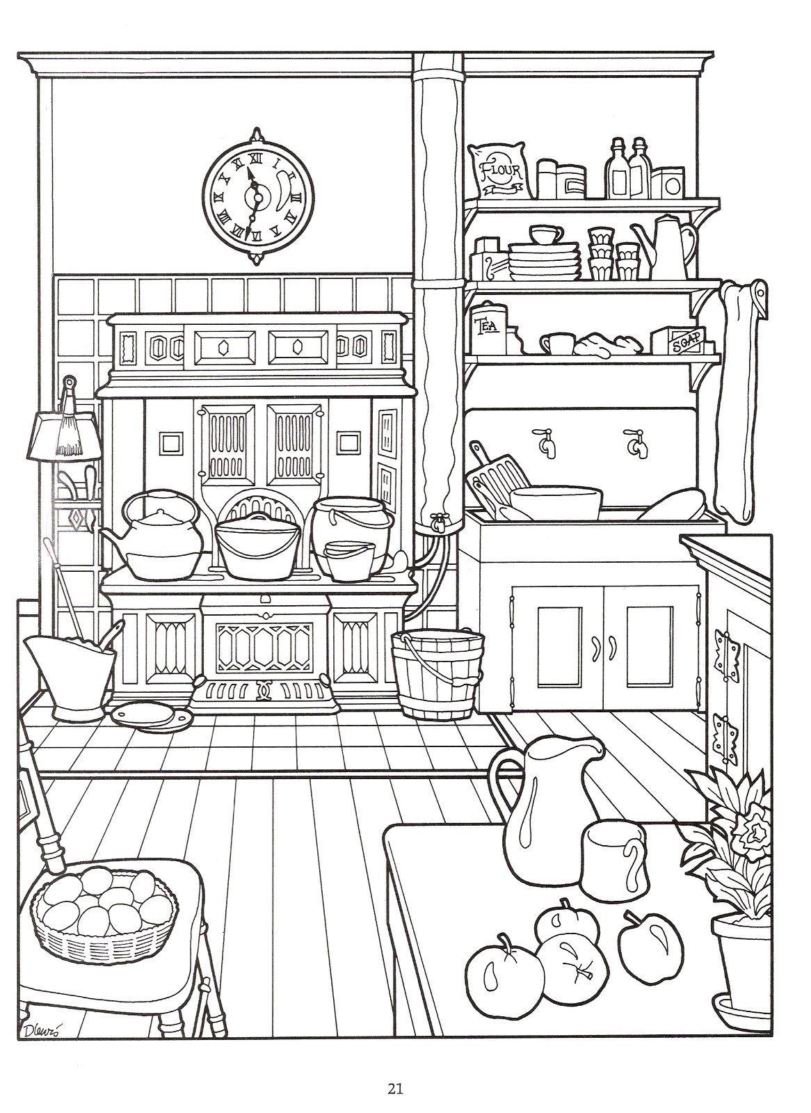 Victorian kitchen   Ausmalbilder zum ausdrucken ...