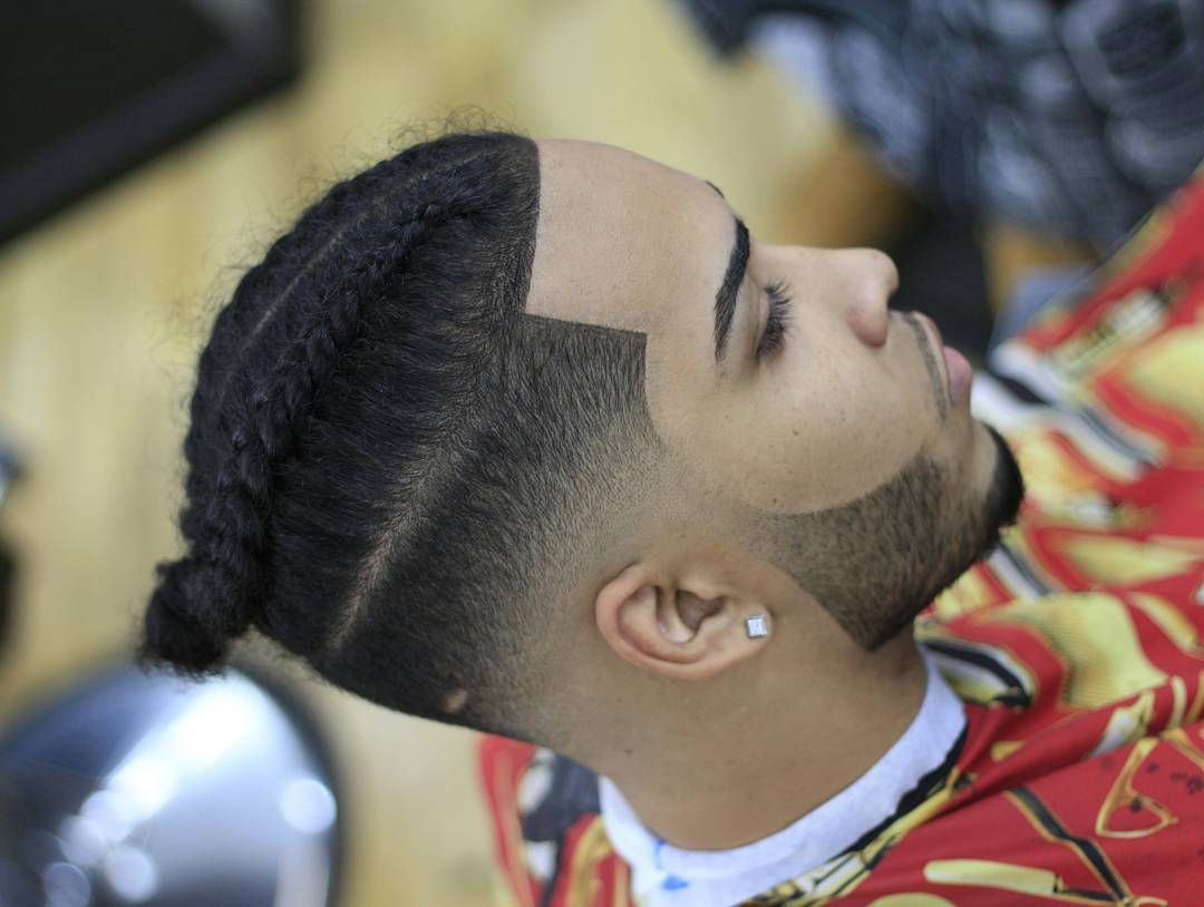 Man Braids With Taper Fade