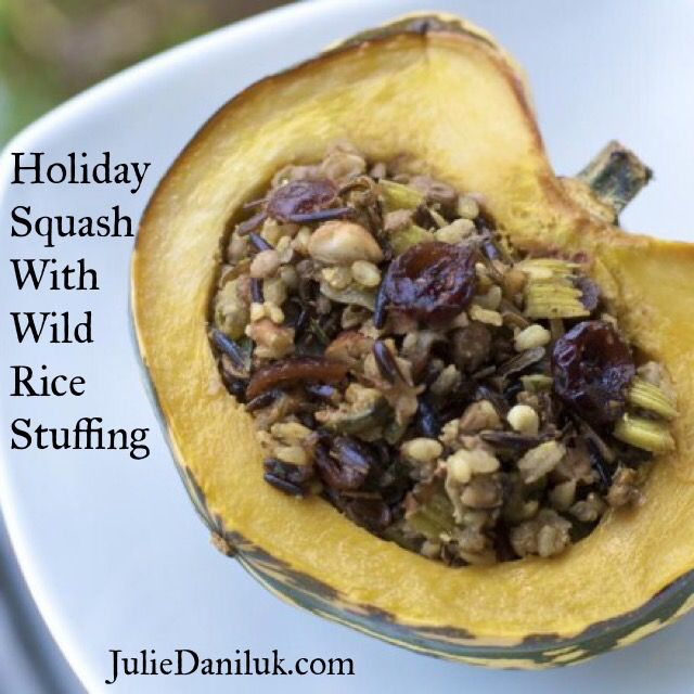 Try this squash with wild rice stuffing as a nutrient-packed dish that will impress vegetarians and satisfy meat-lovers. Combine the squash with a wild rice stuffing and you have a delicious super nutrient-dense holiday dish to serve to your loved ones. If you add lentils to the recipe, you have a main dish to serve for any vegetarians you may be entertaining.