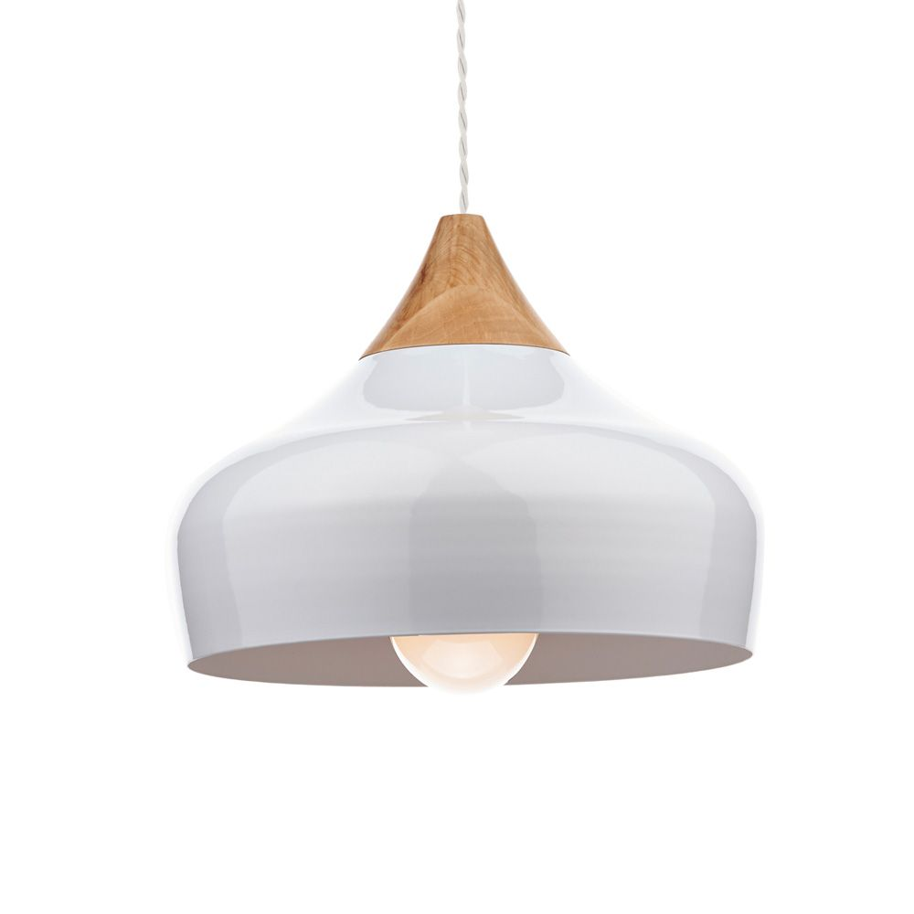 0bab76e8eaf4 Dar GAU0102 Gaucho 1 Light Gloss White Ceiling Pendant | Interiors ...