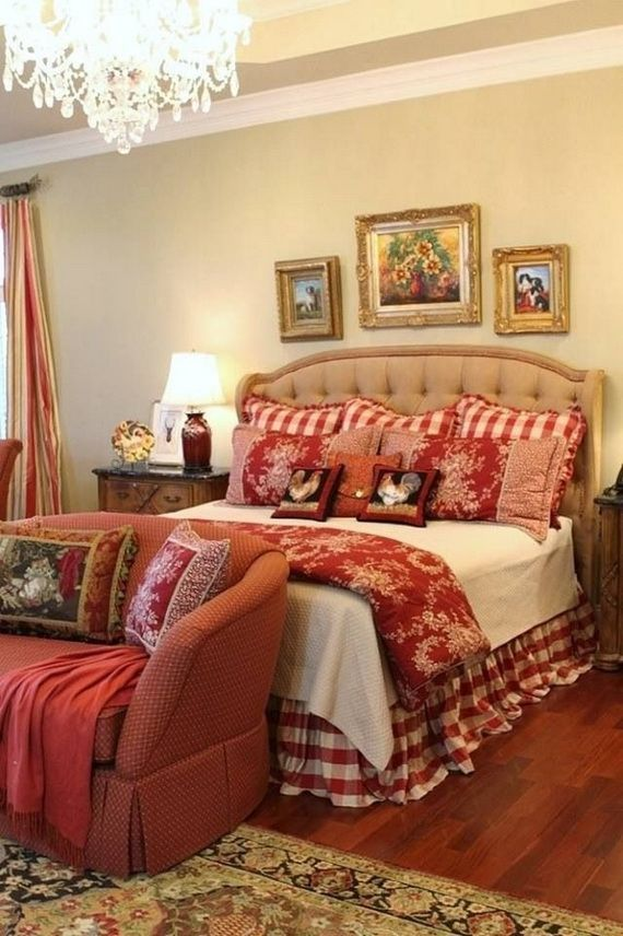 Country Bedroom Decoration Part - 19: Country guest bedroom in red.I had never thought of red.