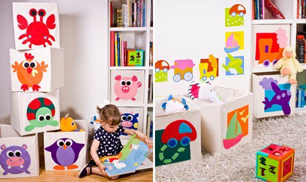 Cajas de tela para almacenamiento de juguetes cuarto de - Ideas almacenaje juguetes ...