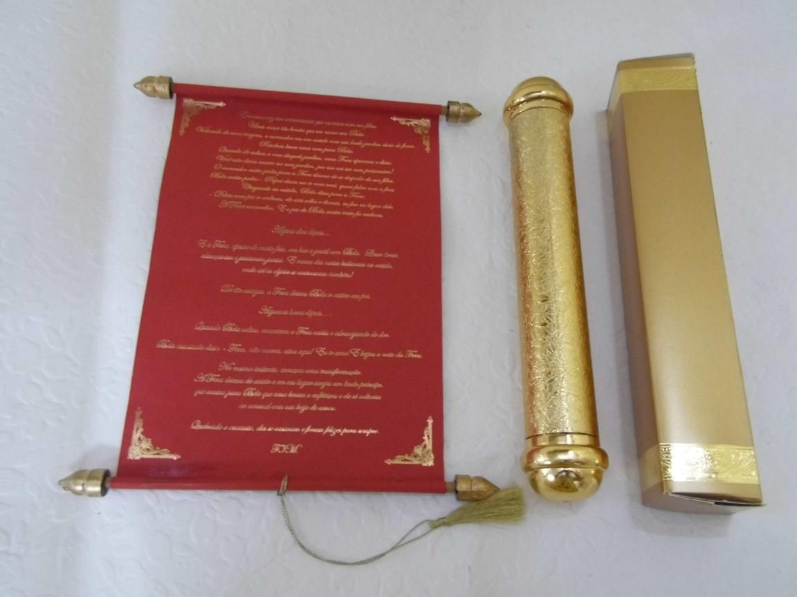 red scroll in a golden tube | Scroll Wedding Invitation | Pinterest