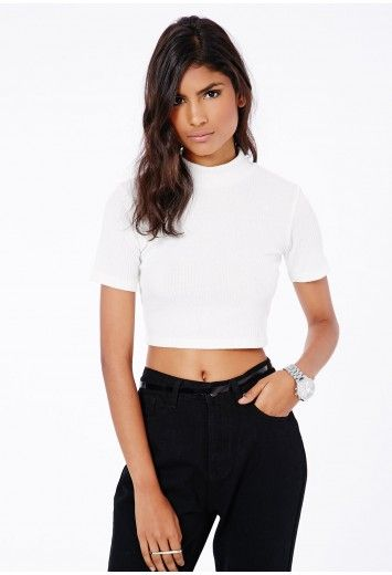 e48291bcd7 Missguided - Isobelle High Neck Ribbed Crop Top In White