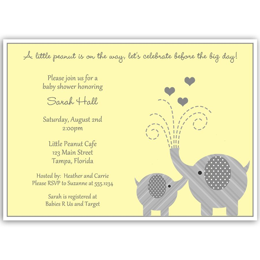Little Peanut Yellow Baby Shower Invitation | Baby elephant shower ...