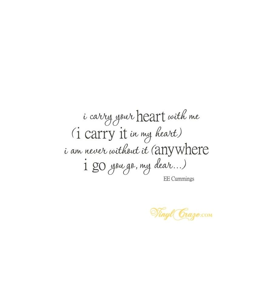 I Carry Your Heart With Me I Carry It In My Heart I Am Never