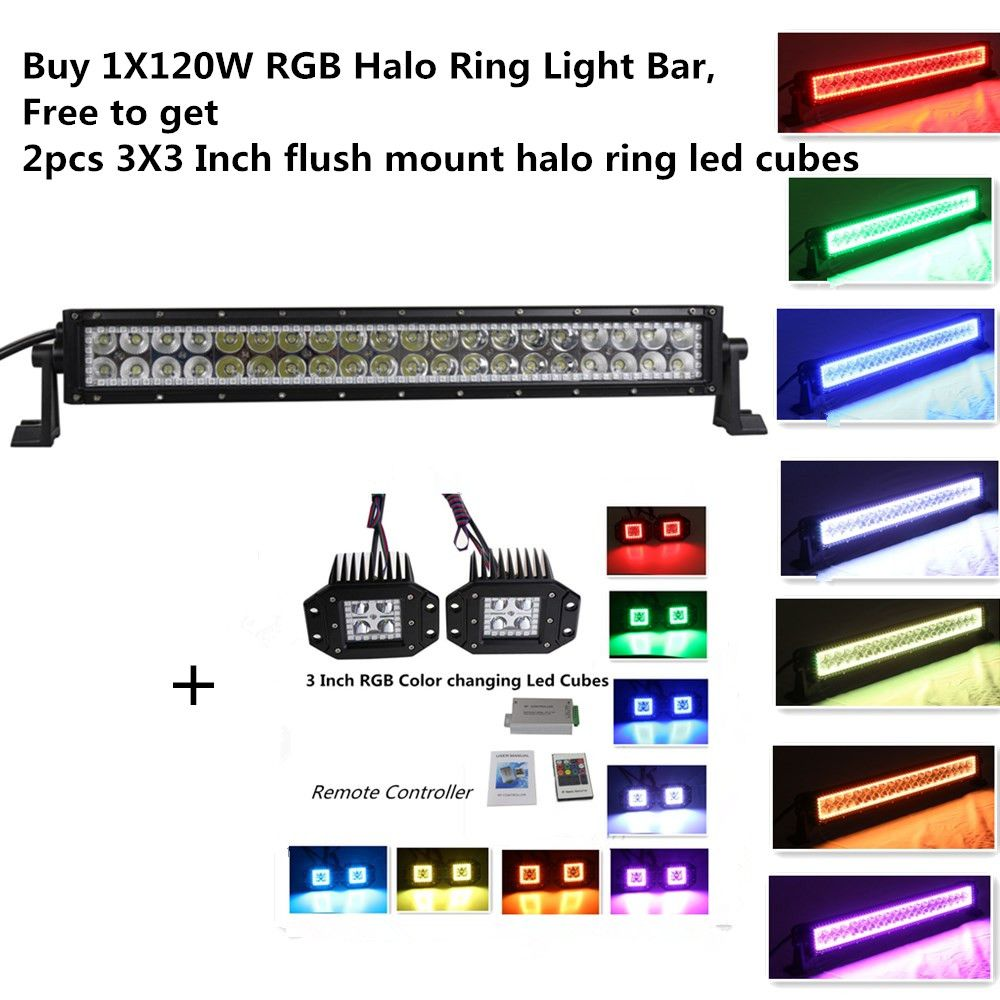 Straight 22 120w Led Light Bar With Halo Ring Colormorph 12 Colors Bose Companion 3 Control Pod Wiring Diagram By Remote Controller Including 2 Pcs Free Inch Flush Mount Pods