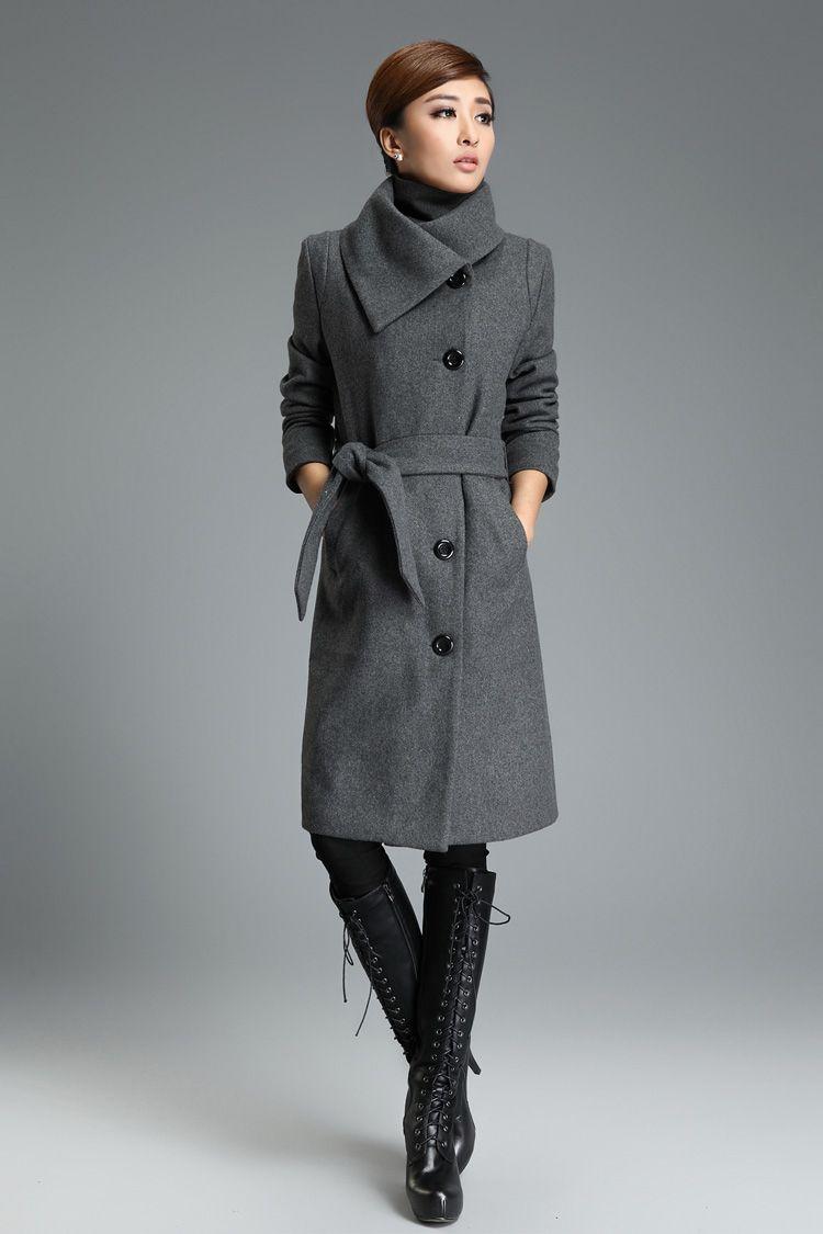 ac3539634646 Gray Long Wool Trench Coat Tie Belt Lapel Winter Warm Thick Woolen Jacket  Cashmere Overcoat Women's on Luulla