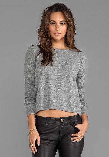 AUTUMN CASHMERE Thermal Sweatshirt With Back Zip in Cement