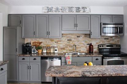 Our Kitchen Cabinet Makeover #greykitchendesigns