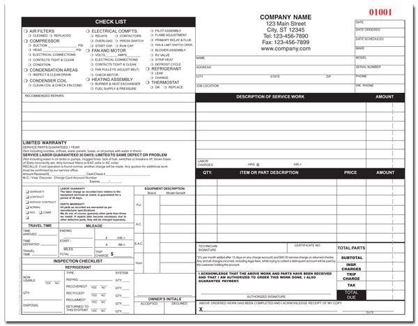 HVAC Form Order Form Hanger And Label Tag - Hvac invoice template free walmart store online